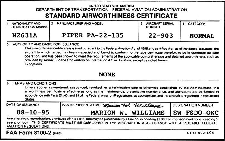 Aircraft documents airplane ground schools standard airworthiness certificate yadclub Image collections